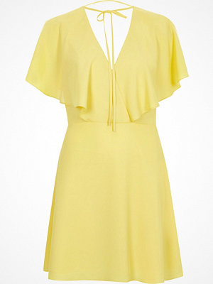 River Island Yellow tie neck cape dress