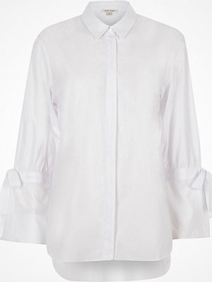 River Island White tie cuff detail long sleeve shirt
