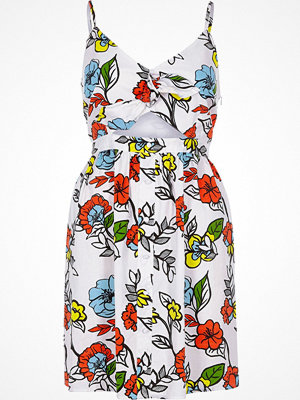 River Island White floral cut out knot front cami dress