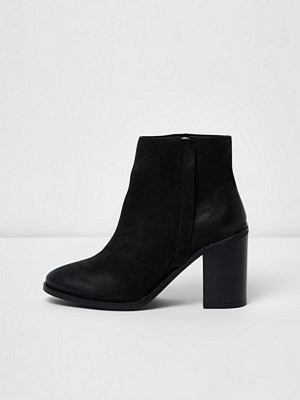 Boots & kängor - River Island Black leather zip up block heel ankle boots