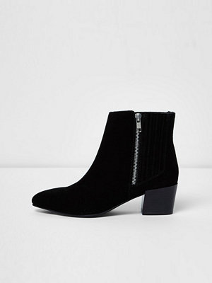 Boots & kängor - River Island Black suede zip up ankle boots