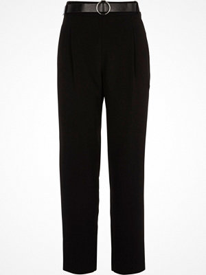 River Island Black tapered belted trousers