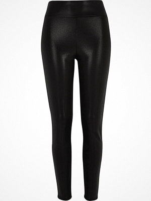 Leggings & tights - River Island Black high waisted coated leggings