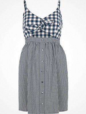 River Island Blue gingham knot front slip cami dress