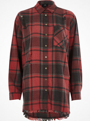 River Island Red check oversized ripped hem shirt