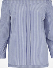 River Island Blue stripe tie sleeve bardot shirt