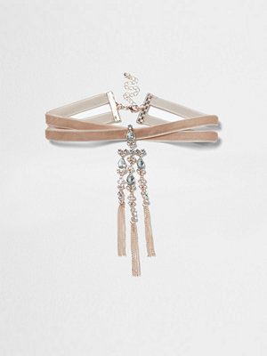 Chokers - River Island River Island Womens Pink velvet diamante cross choker