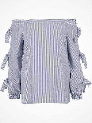River Island Blue stripe print bow sleeve bardot top