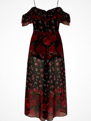 Jumpsuits & playsuits - River Island Black floral bardot culotte jumpsuit