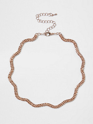 Chokers - River Island River Island Womens Rose Gold tone diamante encrusted wavy choker