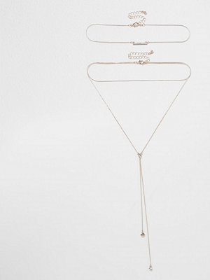 River Island halsband Rose Gold tone mulit row drop necklace set