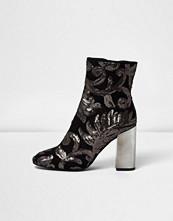 River Island Grey embroidered sequin block heel boots