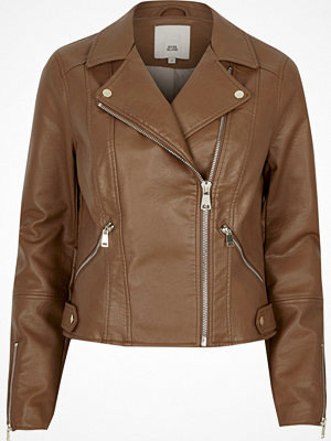 River Island River Island Womens Tan faux leather biker jacket
