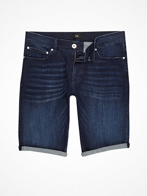 River Island Dark Blue wash skinny denim shorts