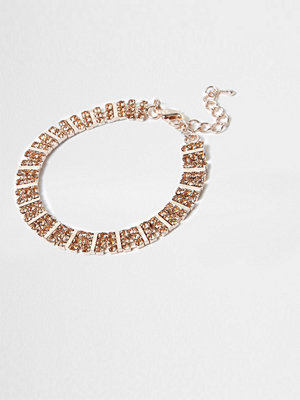 River Island armband Rose Gold tone square diamante bracelet