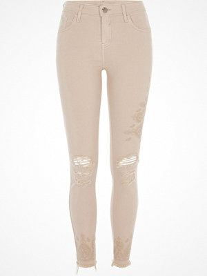 Jeans - River Island Nude ripped embroidered super skinny jeans
