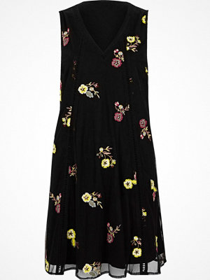 River Island Black floral embroidered swing dress