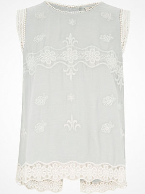 River Island Light blue embroidered top