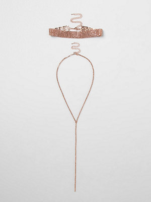 Chokers - River Island River Island Womens Rose Gold tone diamante choker necklace set