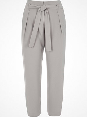 Byxor - River Island Light grey tie waist tapered trousers