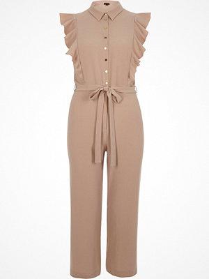 Jumpsuits & playsuits - River Island Petite light pink ruffle culotte jumpsuit