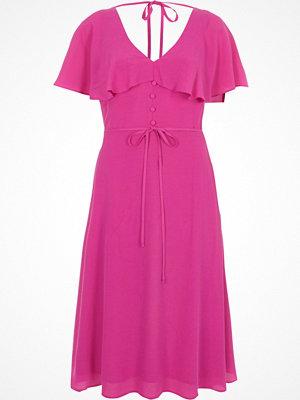 River Island Pink tie neck cape midi tea dress