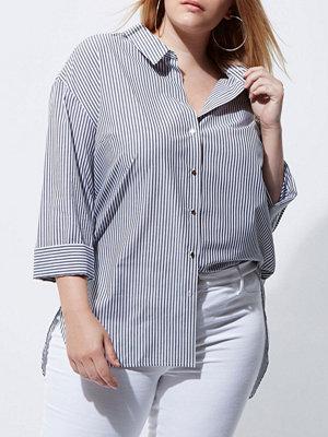 River Island Plus white stripe rolled sleeve shirt