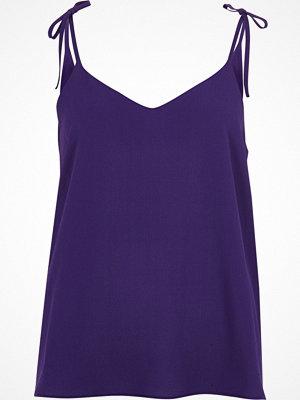 River Island Purple textured bow shoulder cami top
