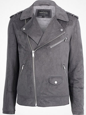 River Island Grey faux suede biker jacket