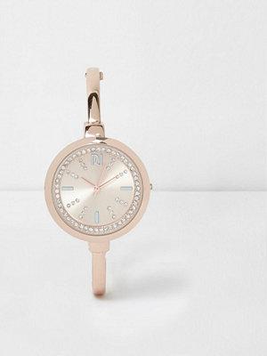 Klockor - River Island Rose gold tone diamante round watch