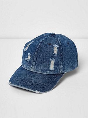 Mössor - River Island Blue distressed denim baseball cap