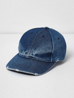Mössor - River Island Blue fade denim baseball cap