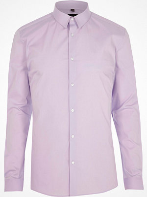 Skjortor - River Island Lilac purple long sleeve muscle fit shirt