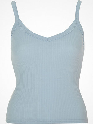 River Island Light blue ribbed cami crop top