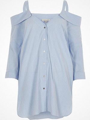 River Island Blue stripe cold shoulder shirt
