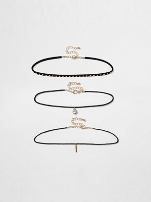 Chokers - River Island River Island Womens Black studded multi row choker set