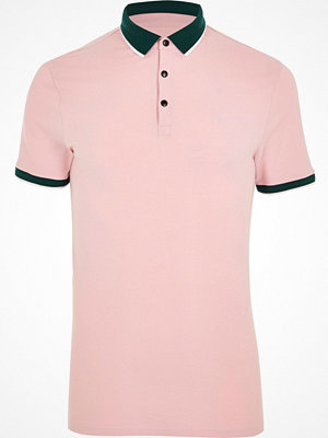 Pikétröjor - River Island Pink tipped muscle fit polo shirt