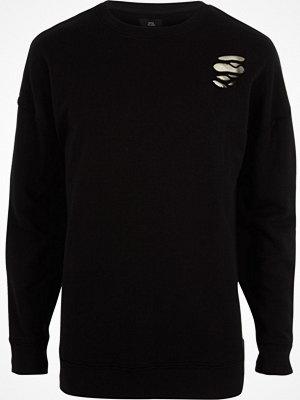 River Island River Island Mens Black ripped oversized sweatshirt