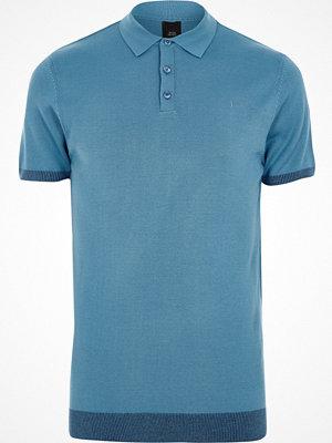 Pikétröjor - River Island Blue slim fit short sleeve knitted polo shirt