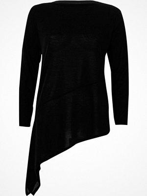 River Island Black asymmetric hem long sleeve top