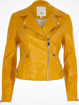 River Island Mustard yellow faux leather biker jacket