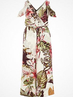 Jumpsuits & playsuits - River Island Green floral cold shoulder culotte jumpsuit