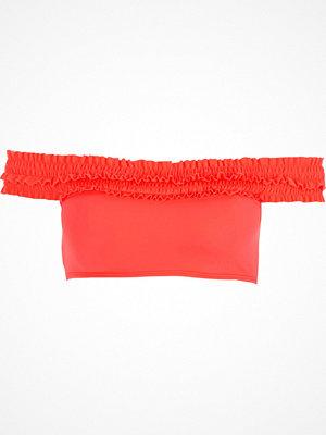 River Island Coral shirred bardot bikini top