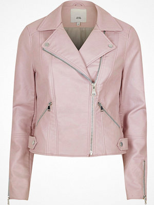 River Island Light pink faux leather biker jacket