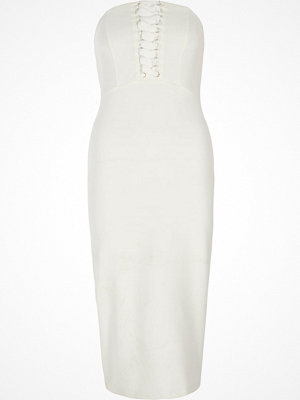 River Island White bandeau lace-up bodycon dress