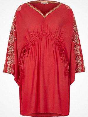 River Island Red embroidered kaftan dress