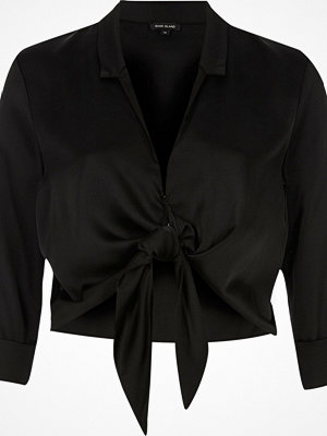 River Island River Island Womens Black satin tie front cropped shirt