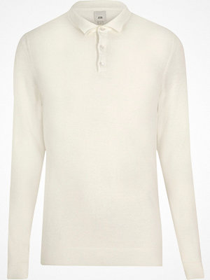 Pikétröjor - River Island Cream knitted long sleeve slim fit polo shirt