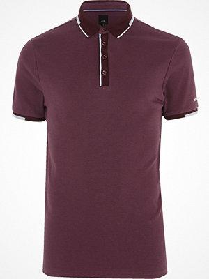Pikétröjor - River Island Dark purple slim fit sporty tipped polo shirt