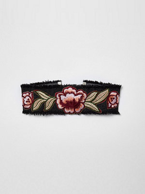 River Island Black denim floral embroidered choker